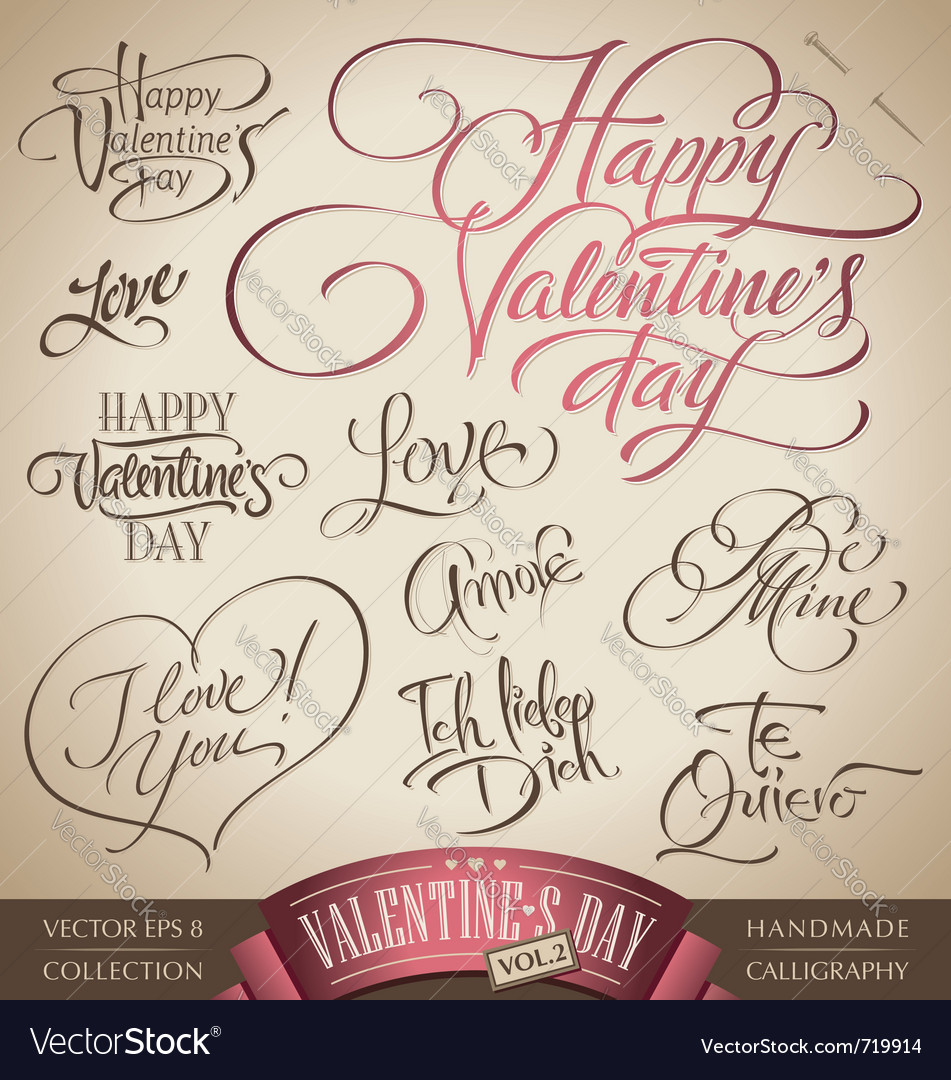 Valentines hand lettering set vector | Price: 1 Credit (USD $1)