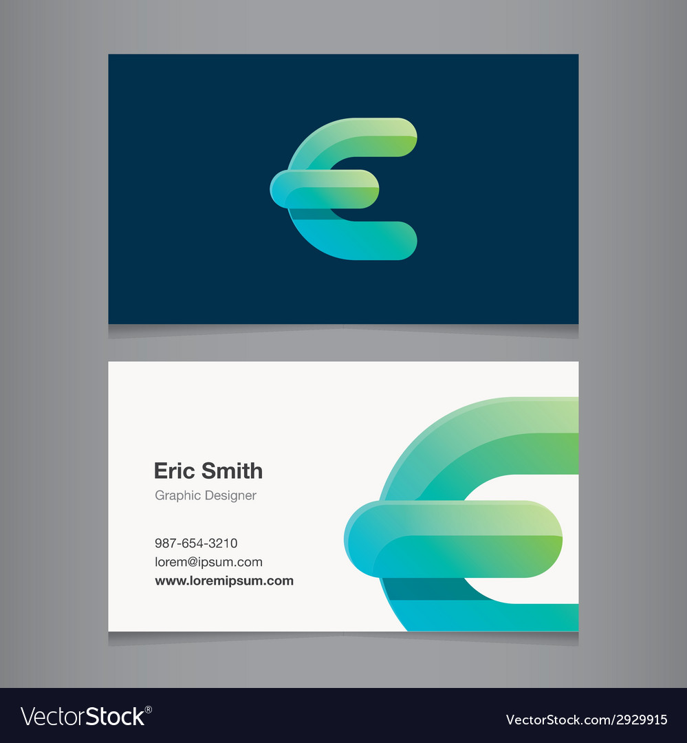 Business card letter e vector | Price: 1 Credit (USD $1)