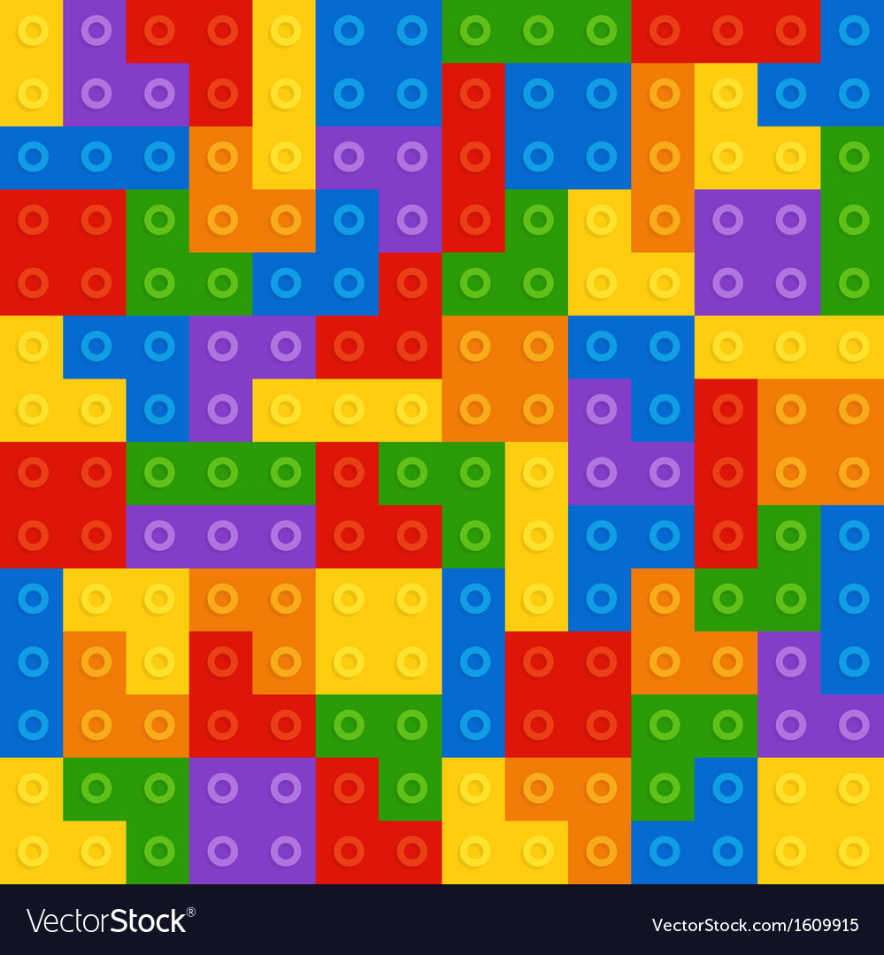 Color constructor blocks seamless pattern vector | Price: 1 Credit (USD $1)