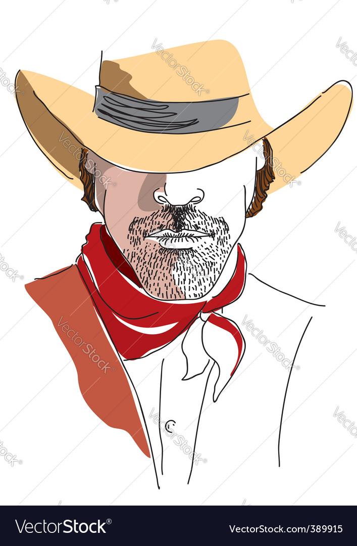 Cowboy face color vector | Price: 1 Credit (USD $1)