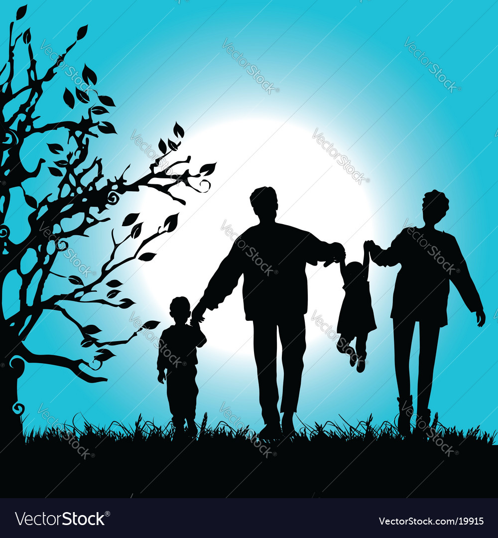 Family nature walks vector | Price: 1 Credit (USD $1)