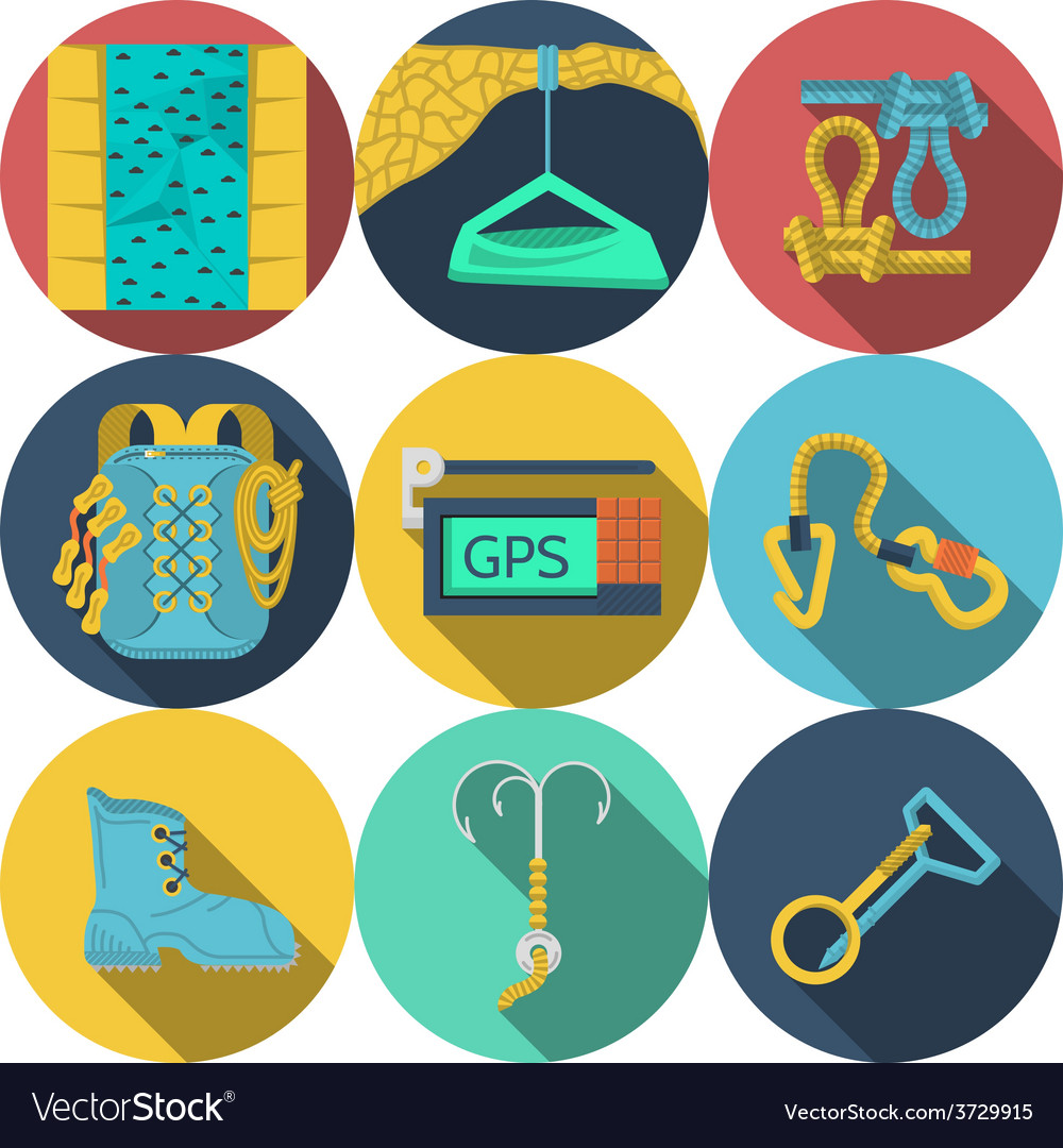 Flat icons for climbing equipment vector | Price: 1 Credit (USD $1)