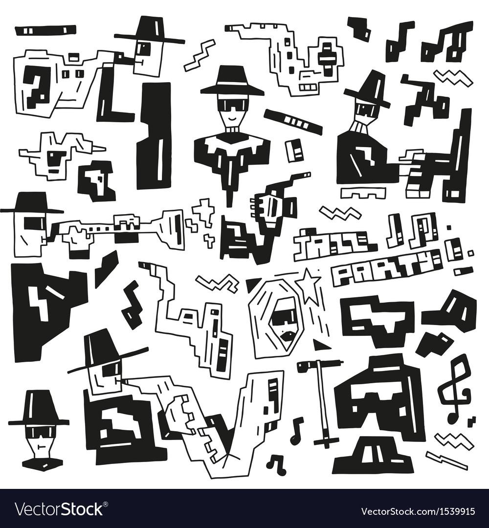 Jazz party doodles vector | Price: 1 Credit (USD $1)