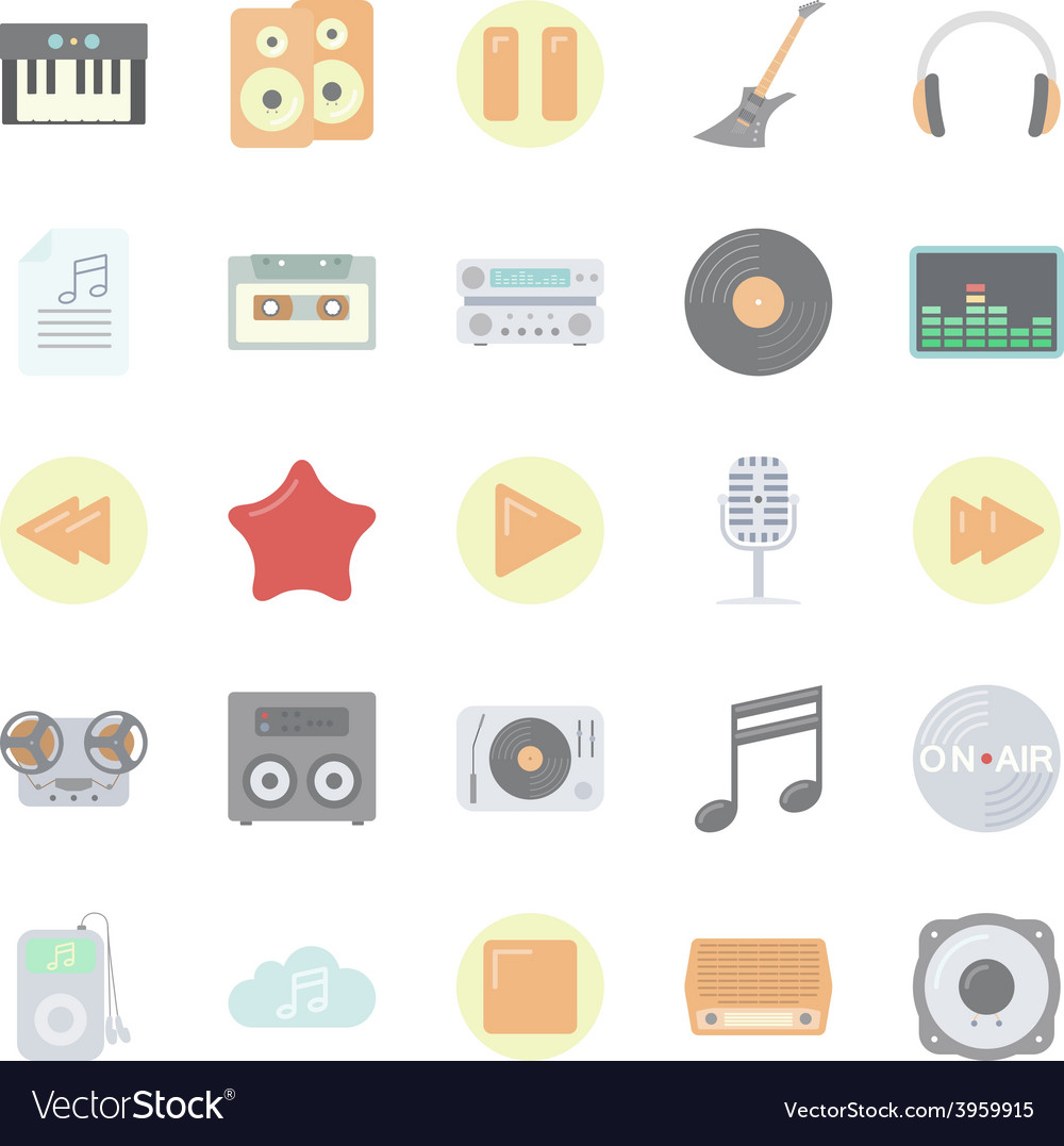 Music and audio flat icons set vector | Price: 1 Credit (USD $1)
