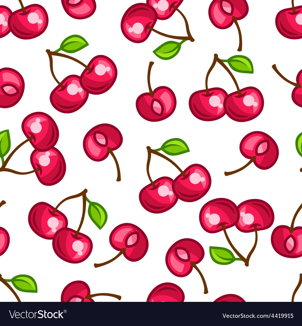 Seamless pattern with stylized fresh ripe cherries vector   Price: 1 Credit (USD $1)