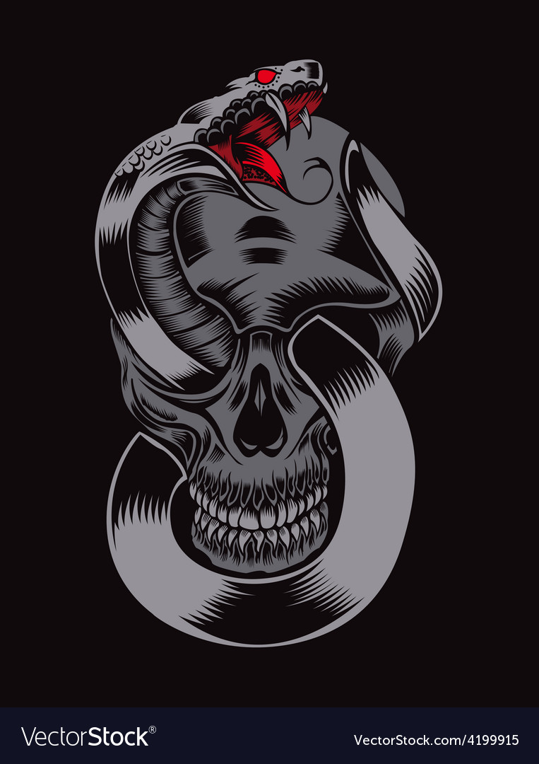 Skull with cobra vector | Price: 3 Credit (USD $3)