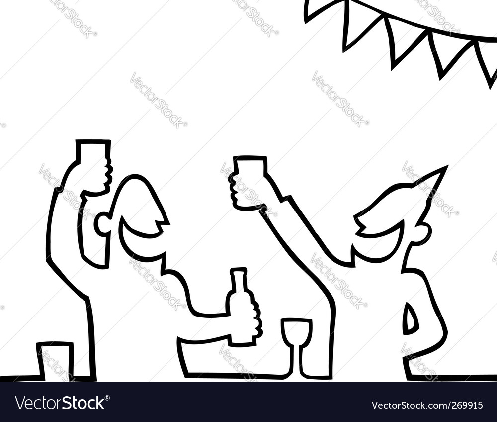 Two people partying with drink vector | Price: 1 Credit (USD $1)