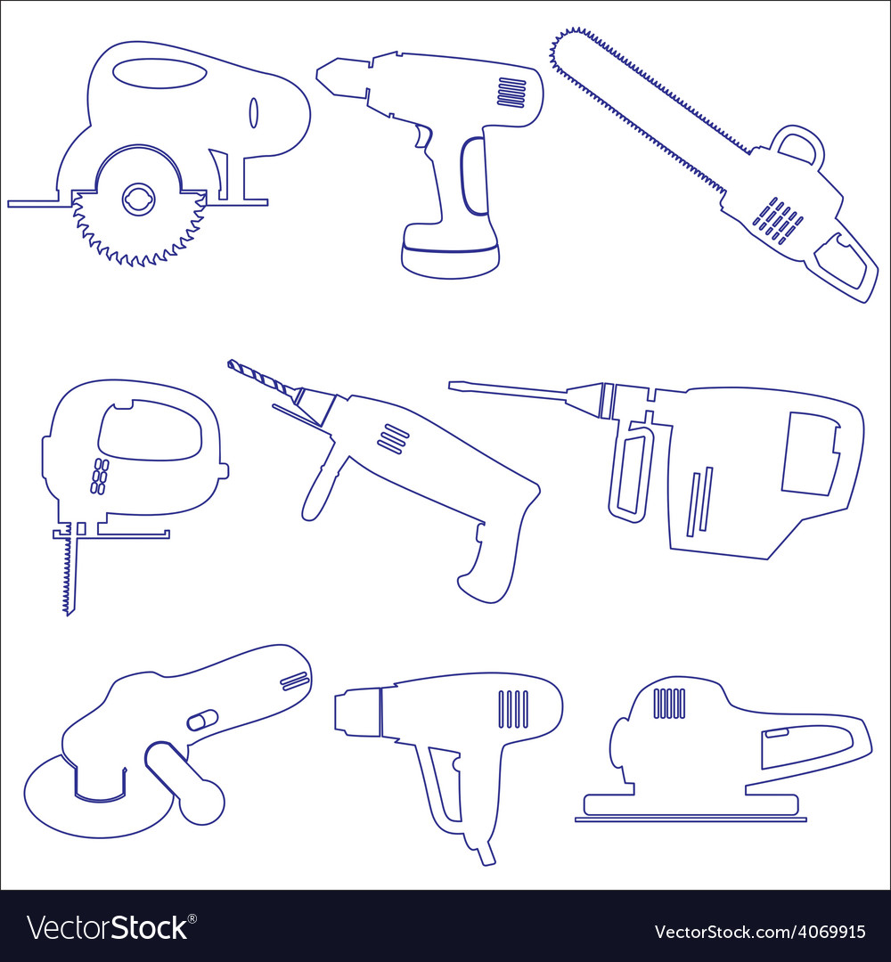 Various power tools outline icons set eps10 vector | Price: 1 Credit (USD $1)