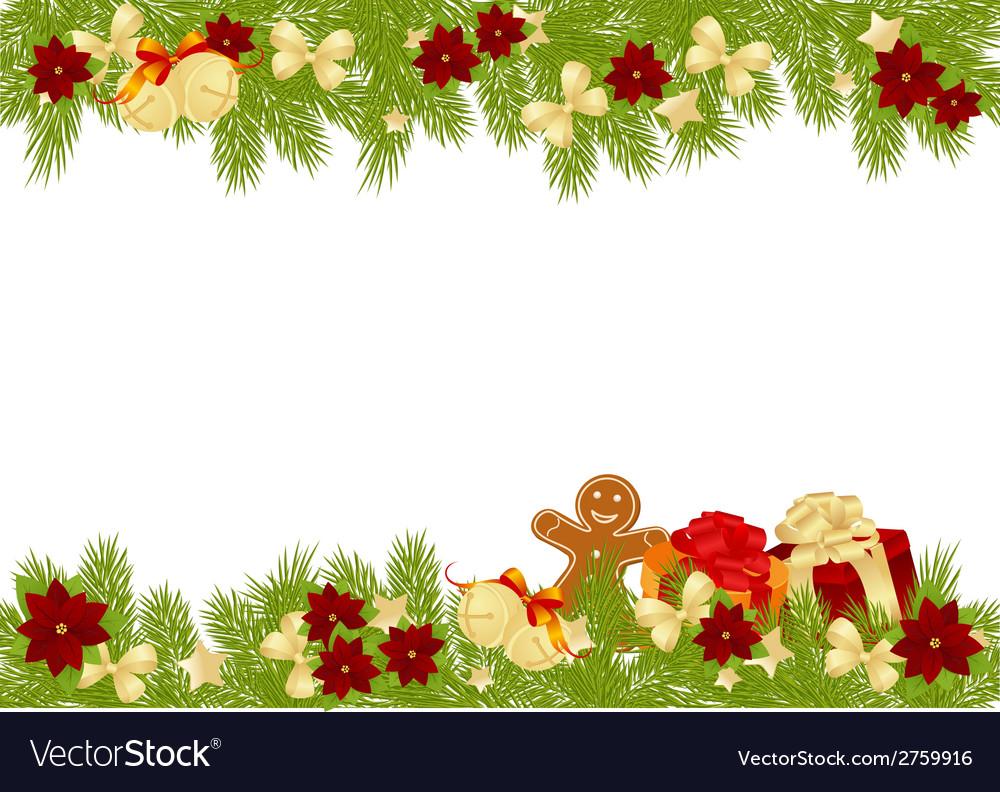 Christmas pine frame 2308 01 vector