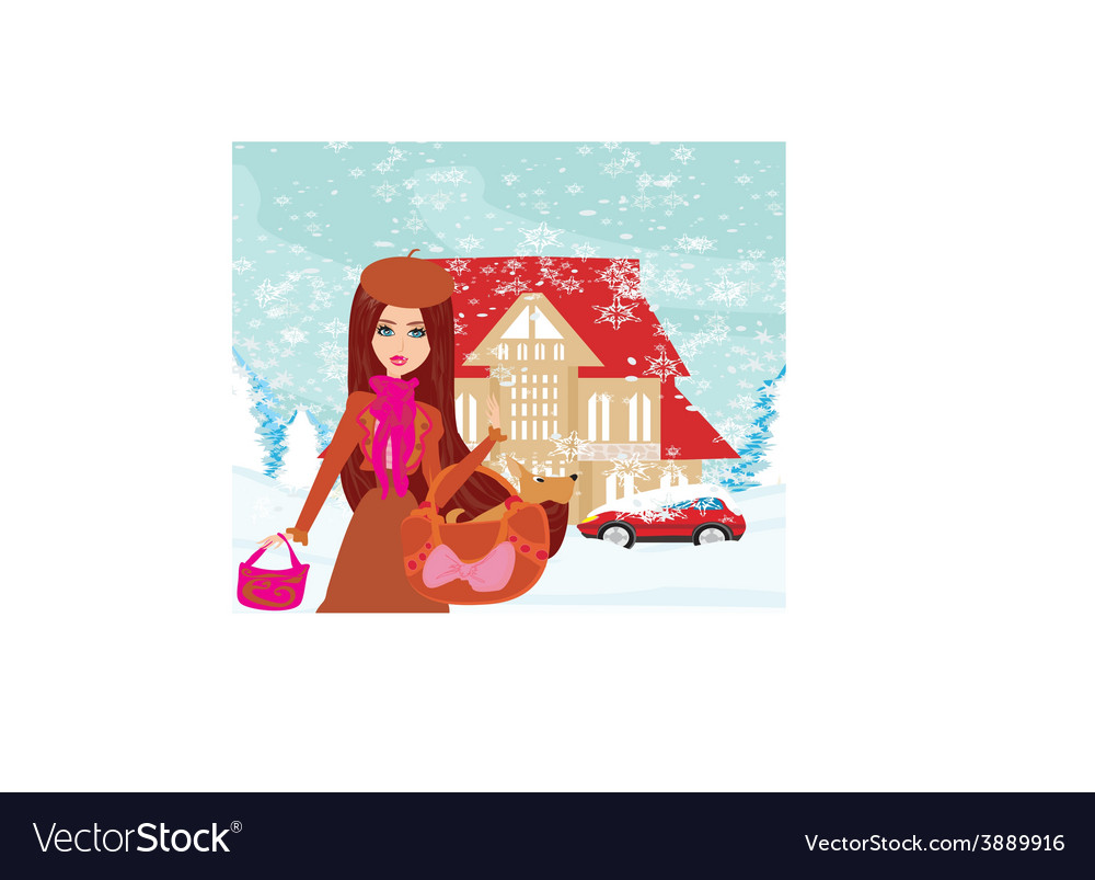 Christmas shopping on a snowy day vector | Price: 1 Credit (USD $1)