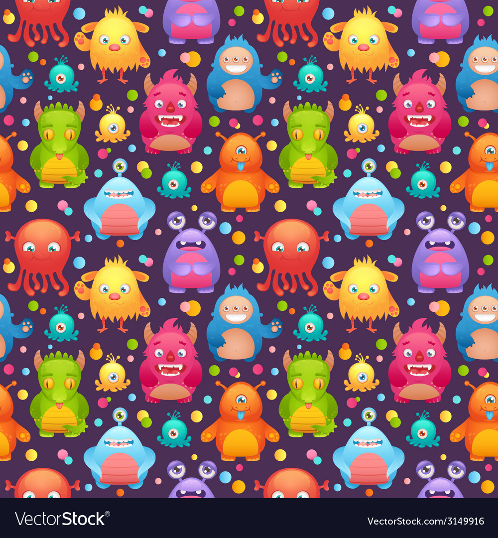 Cute monsters set vector | Price: 1 Credit (USD $1)