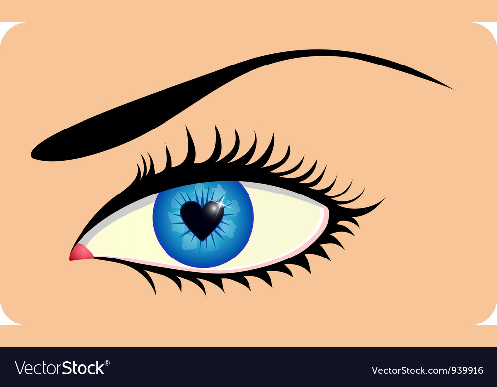 Eye with heart iris vector | Price: 1 Credit (USD $1)