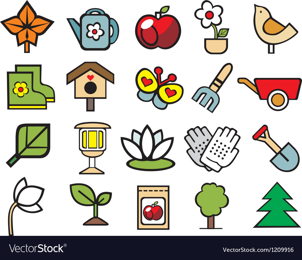 Gardening doodle icons set vector | Price: 1 Credit (USD $1)