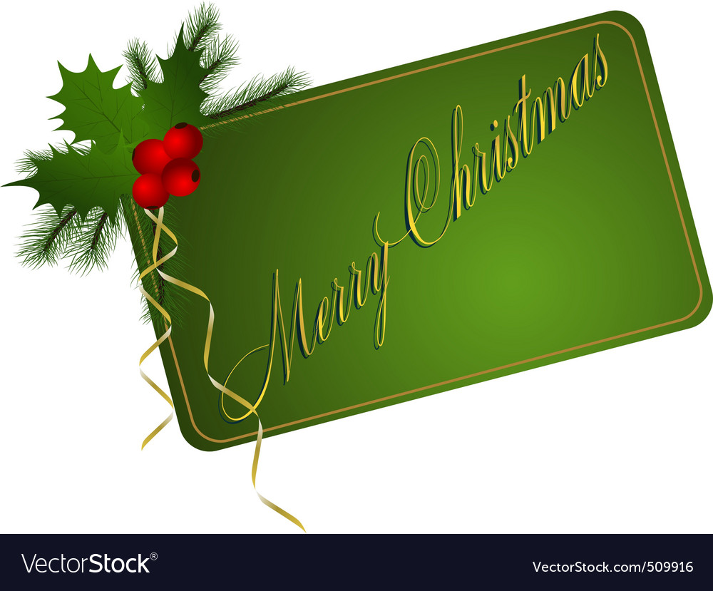 Green merry christmas card vector | Price: 1 Credit (USD $1)