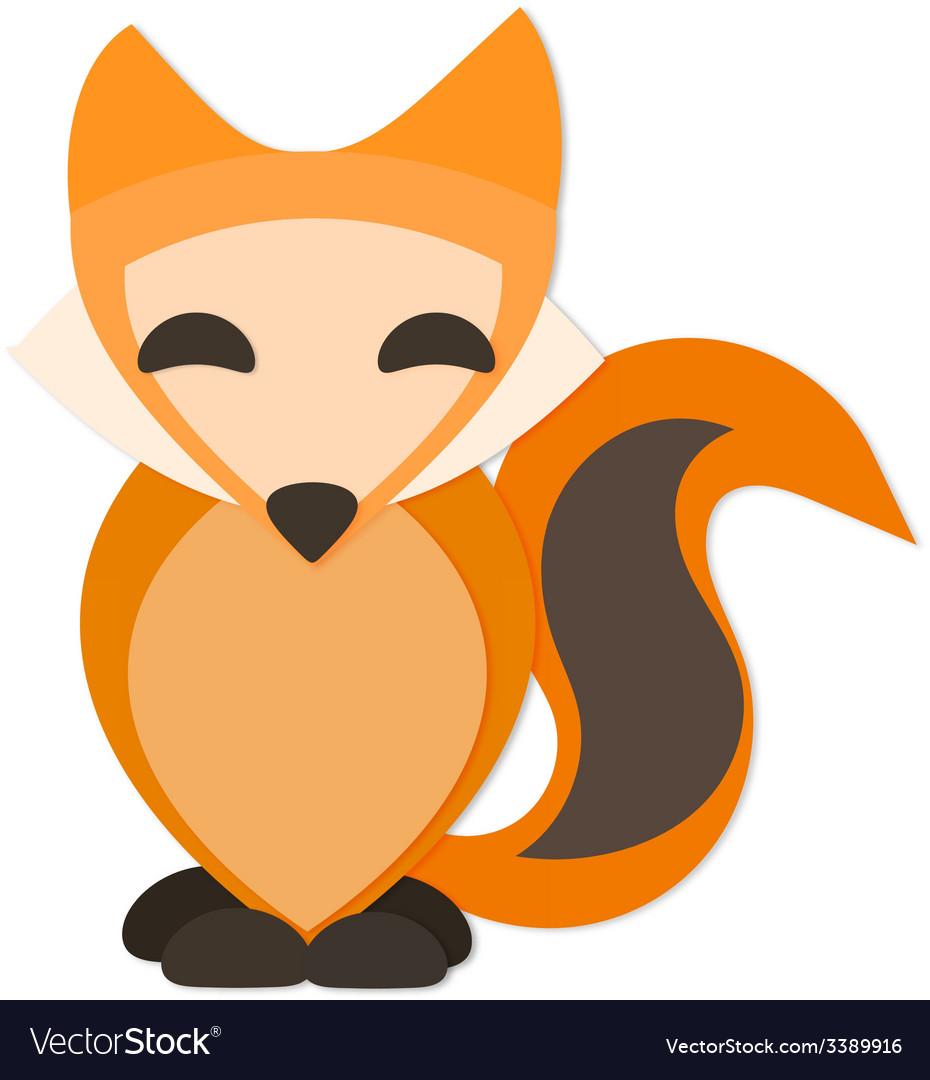 Happy fox with drop shadow vector | Price: 1 Credit (USD $1)