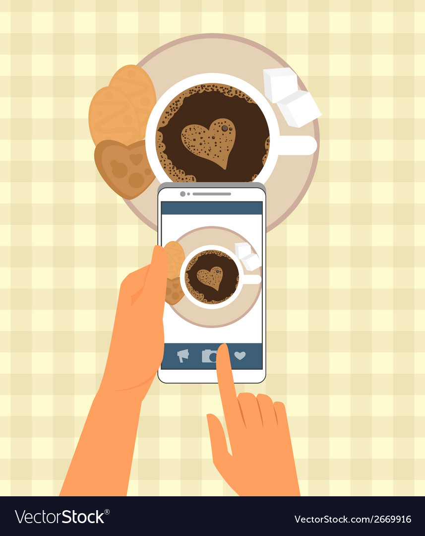 Human is photographing his cup of coffee in vector | Price: 1 Credit (USD $1)