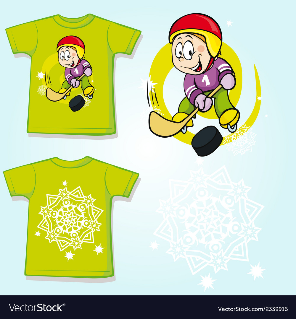 Kid shirt with hockey player printed - back and vector | Price: 1 Credit (USD $1)