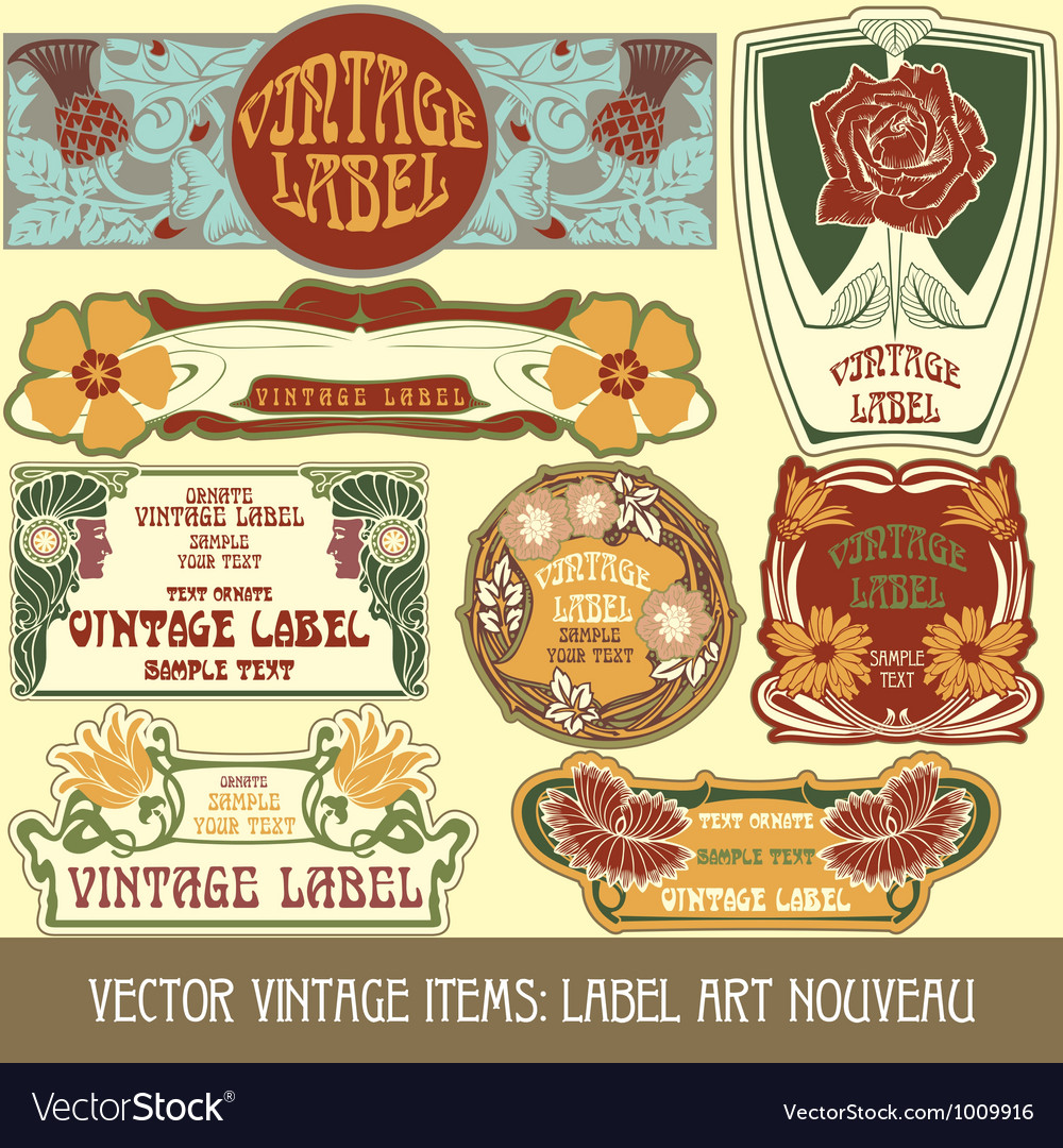 Label art nouveau vector | Price: 3 Credit (USD $3)