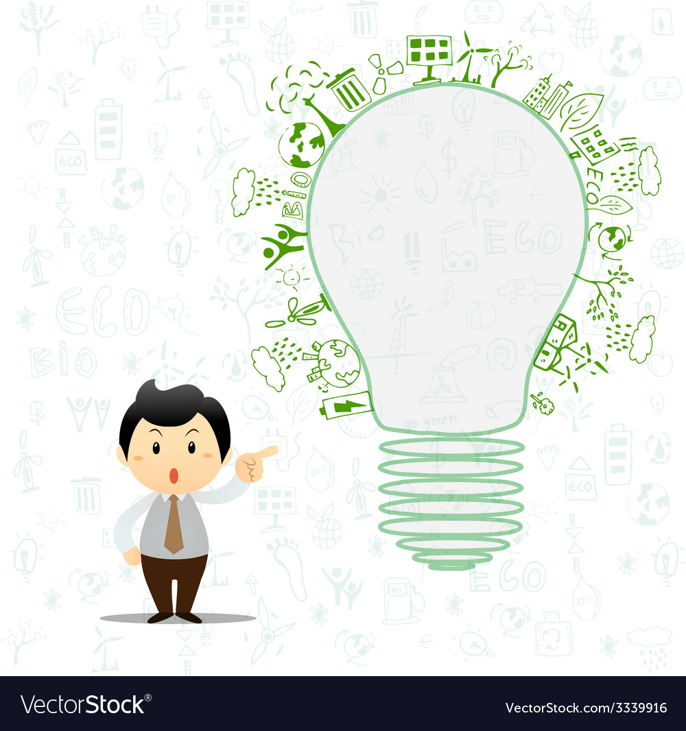 Light bulb idea with creative drawing environment vector | Price: 1 Credit (USD $1)