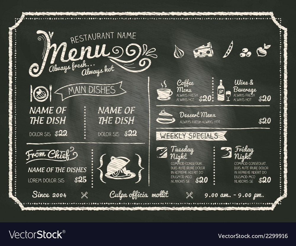 Restaurant menu design on chalkboard background vector | Price: 1 Credit (USD $1)