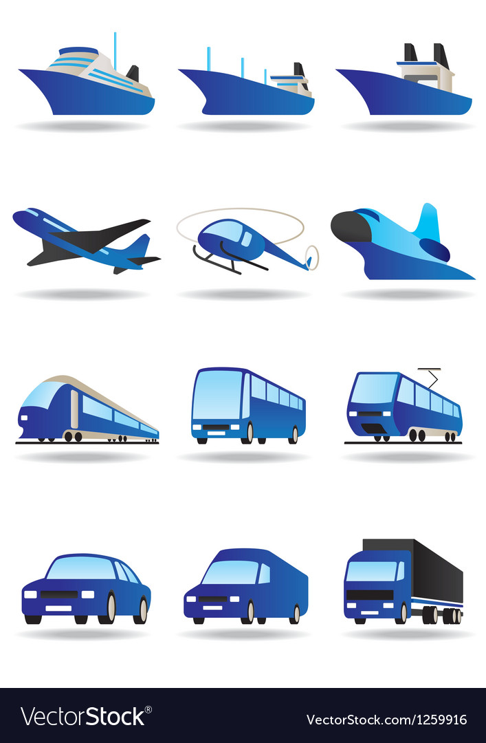 Road sea and space transport icons set vector | Price: 3 Credit (USD $3)