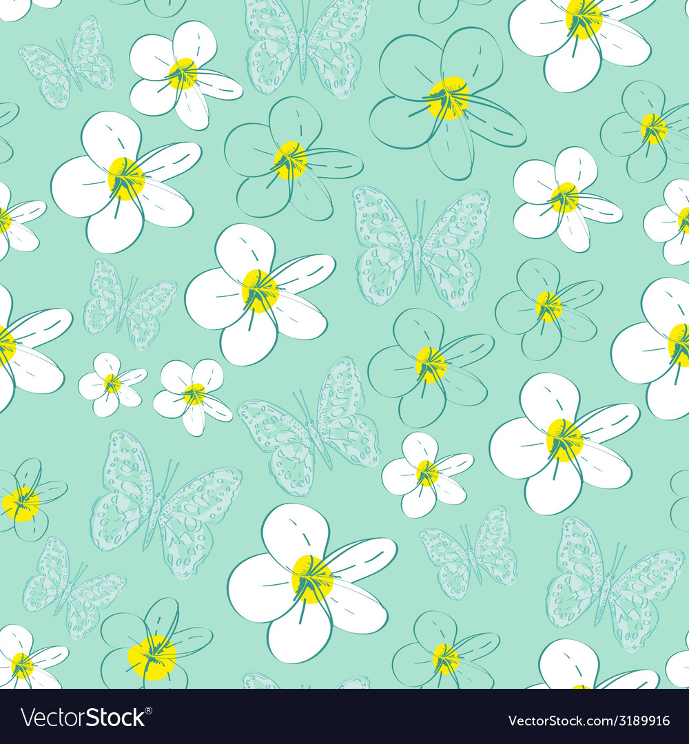 Seamless pattern with white flowers on a blue vector | Price: 1 Credit (USD $1)