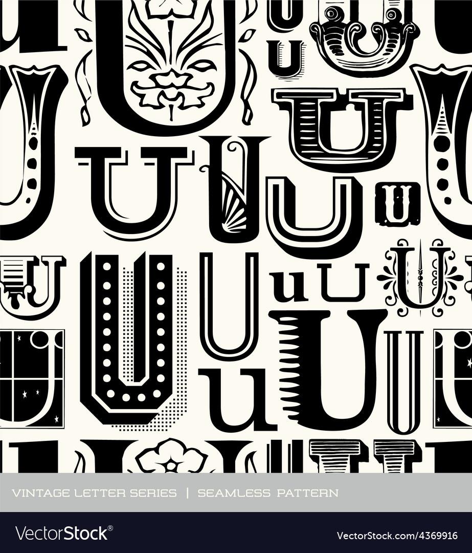 Seamless vintage pattern letter u vector | Price: 1 Credit (USD $1)