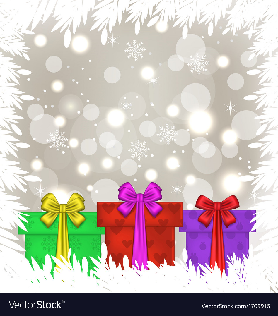 Set christmas gift boxes on glowing background vector | Price: 1 Credit (USD $1)