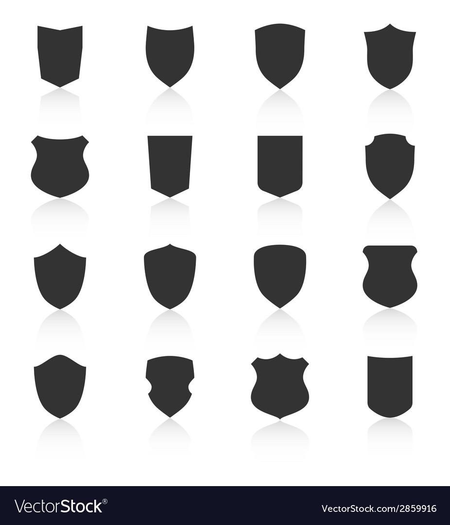 Set of different shield shapes icons vector