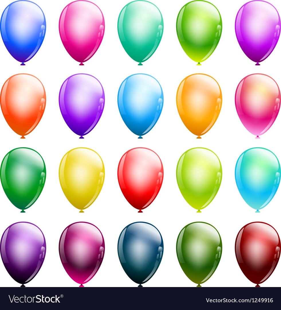 Set of glossy balloons vector | Price: 1 Credit (USD $1)