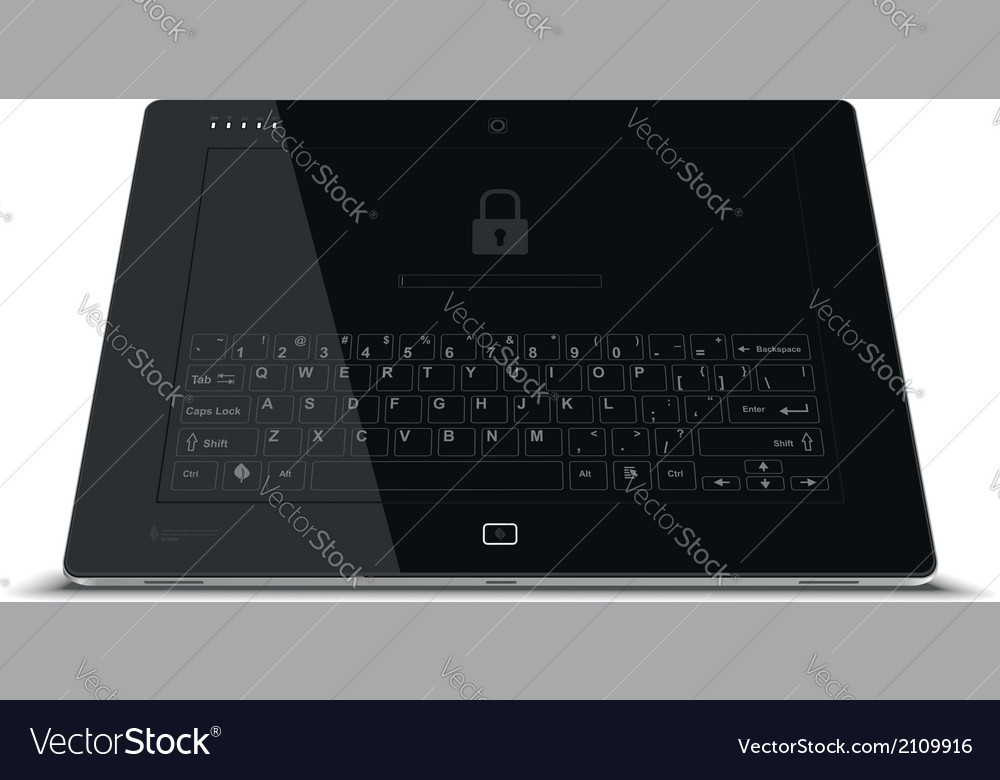 Tablet frontal view leaning back vector | Price: 1 Credit (USD $1)