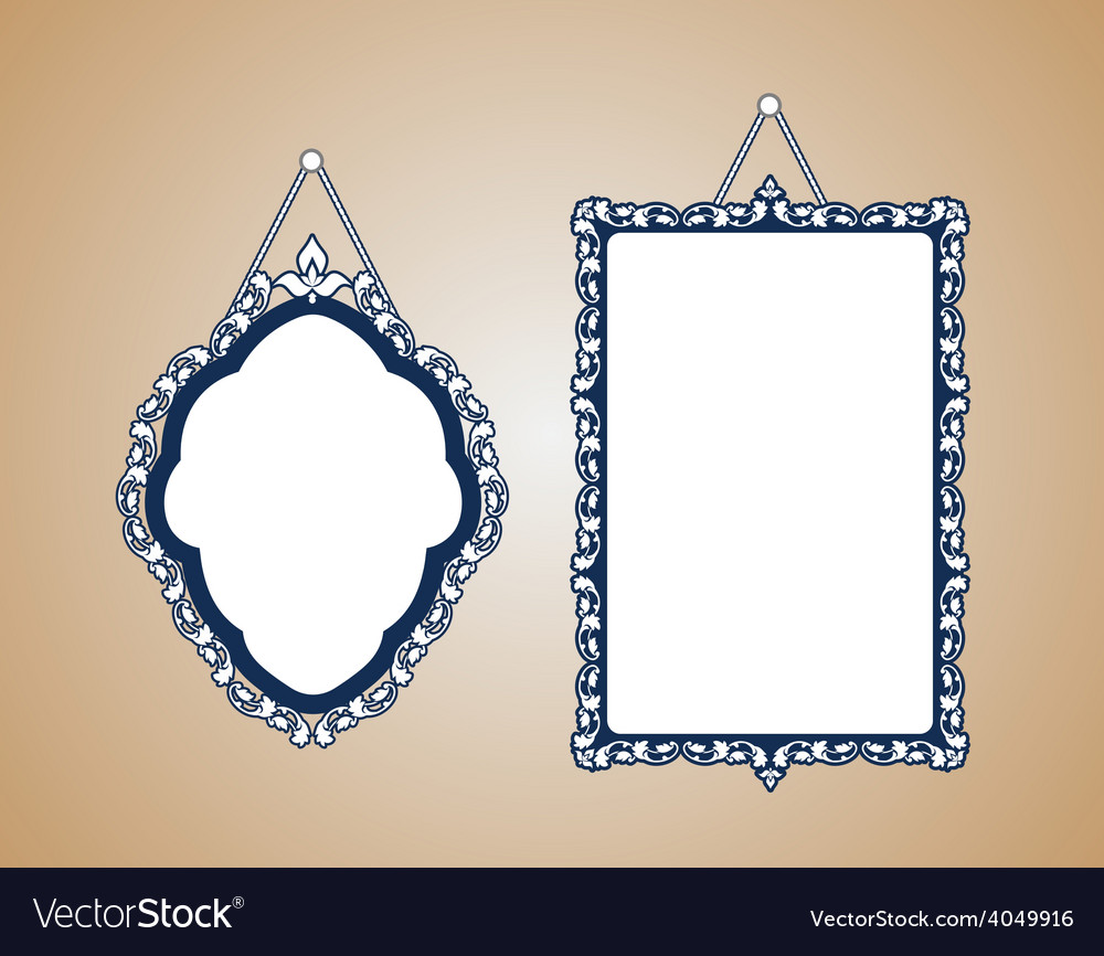 Vintage mirror frame hanging on the wall rich old vector | Price: 1 Credit (USD $1)