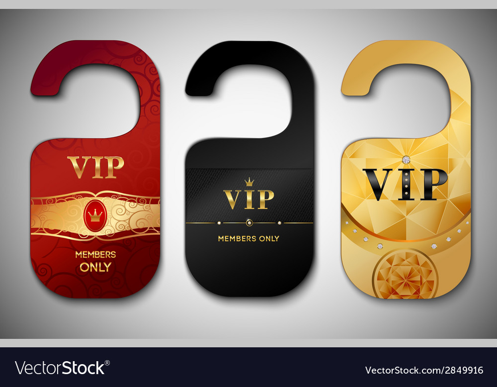 Vip door tags set vector | Price: 1 Credit (USD $1)