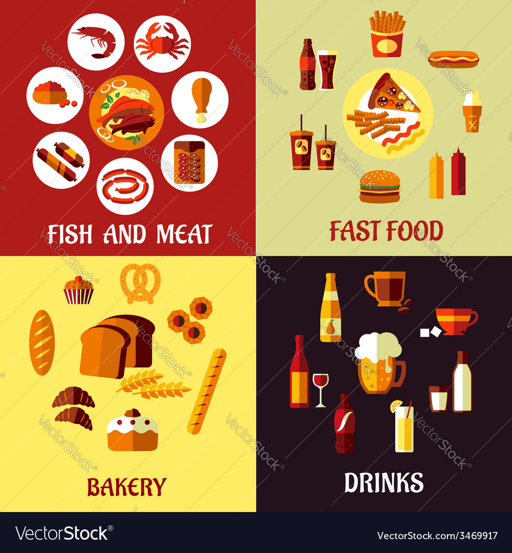 Assorted flat food icons vector | Price: 1 Credit (USD $1)