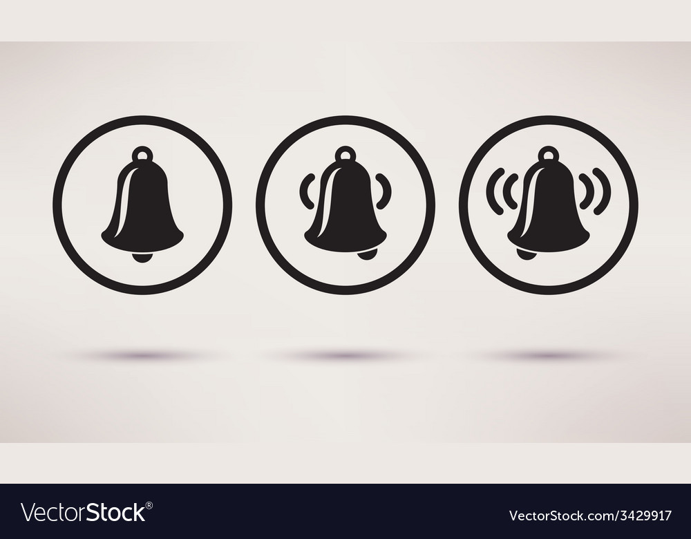 Bells ringing icons set in a flat style vector | Price: 1 Credit (USD $1)