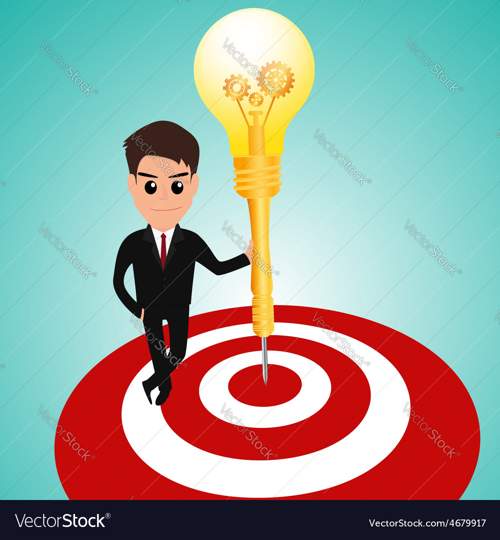 Businessman in target area whit dart lightbulb vector | Price: 1 Credit (USD $1)