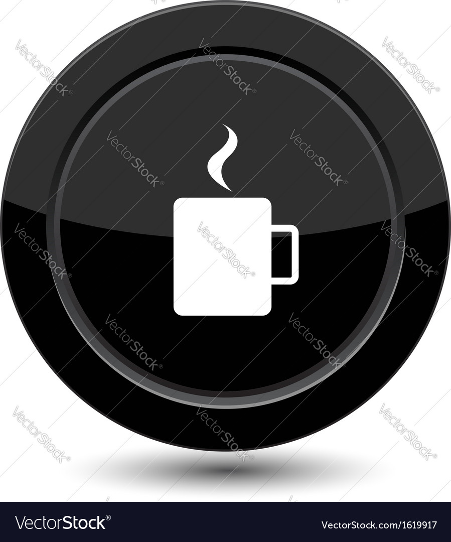 Button with cup of coffee vector | Price: 1 Credit (USD $1)