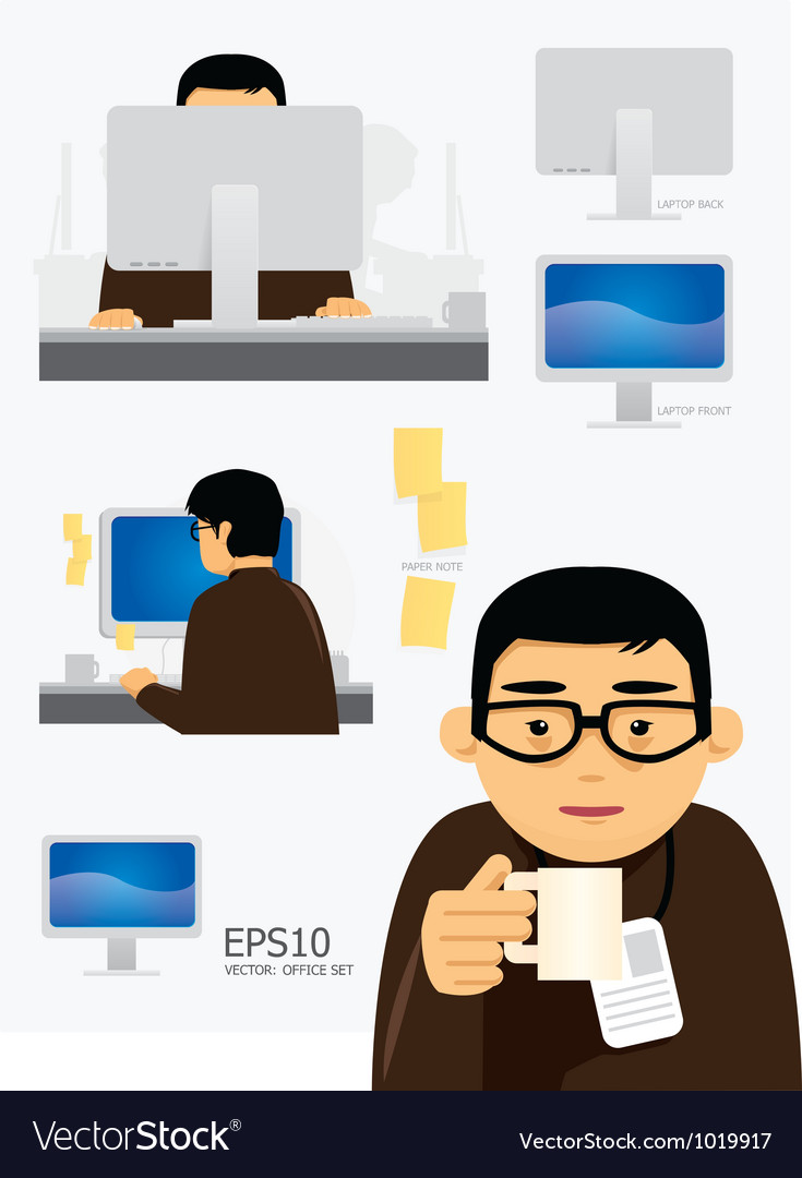 Characters office work set vector | Price: 3 Credit (USD $3)