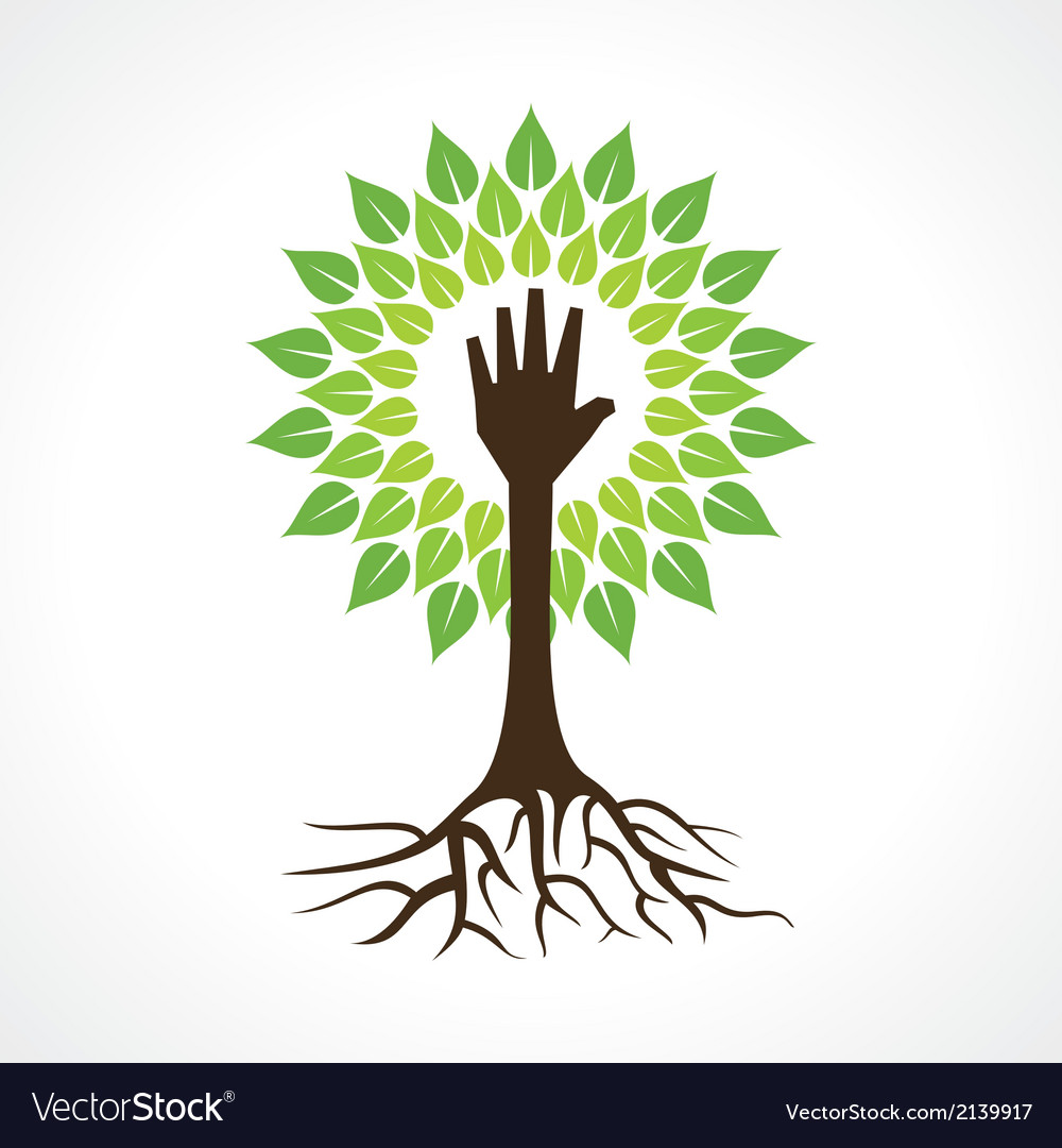 Helping hand make tree vector | Price: 1 Credit (USD $1)