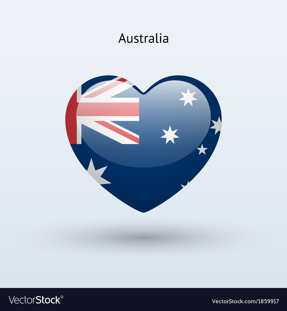 Love australia symbol heart flag icon vector | Price: 1 Credit (USD $1)