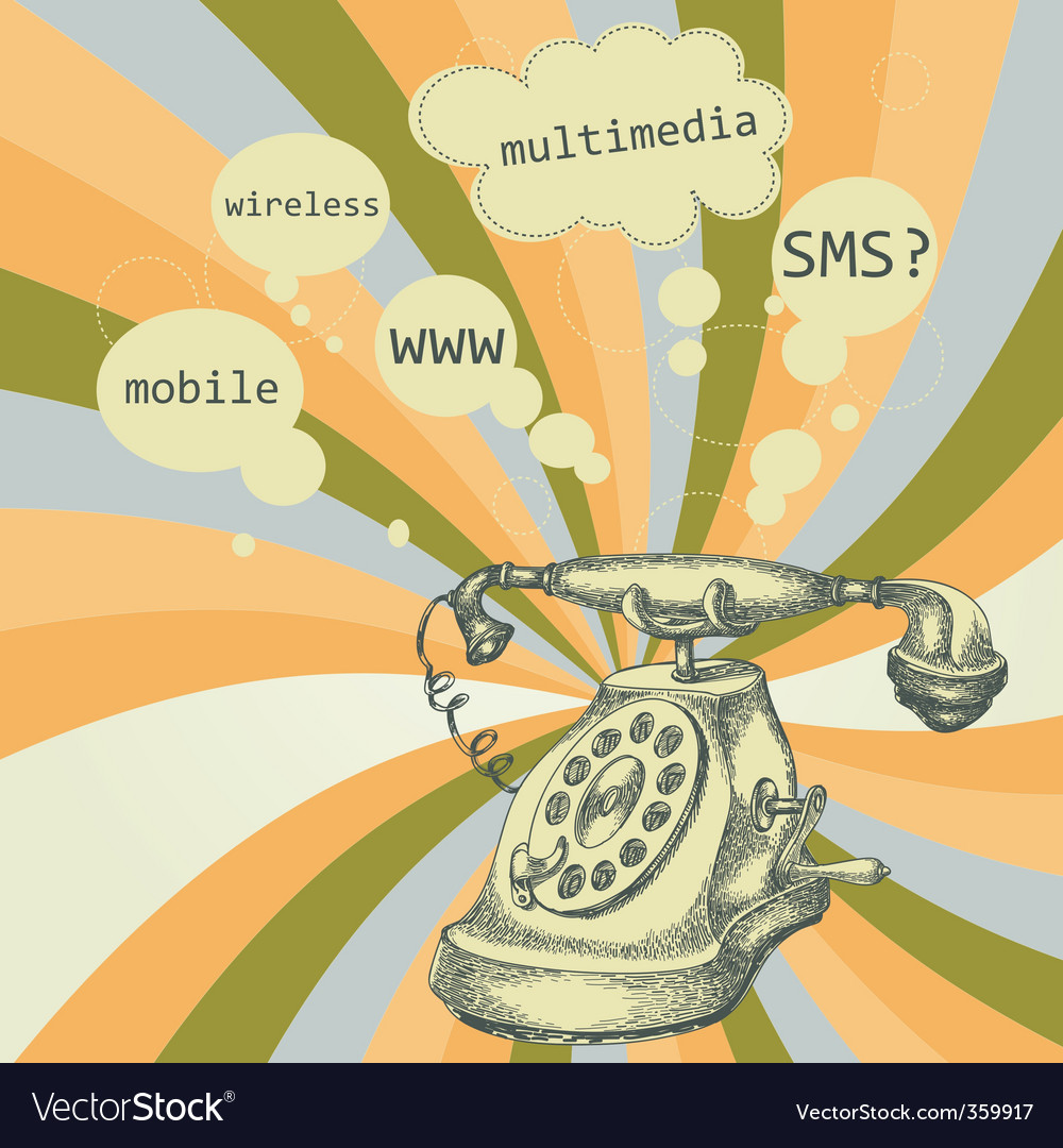 Retro telephone background vector | Price: 1 Credit (USD $1)