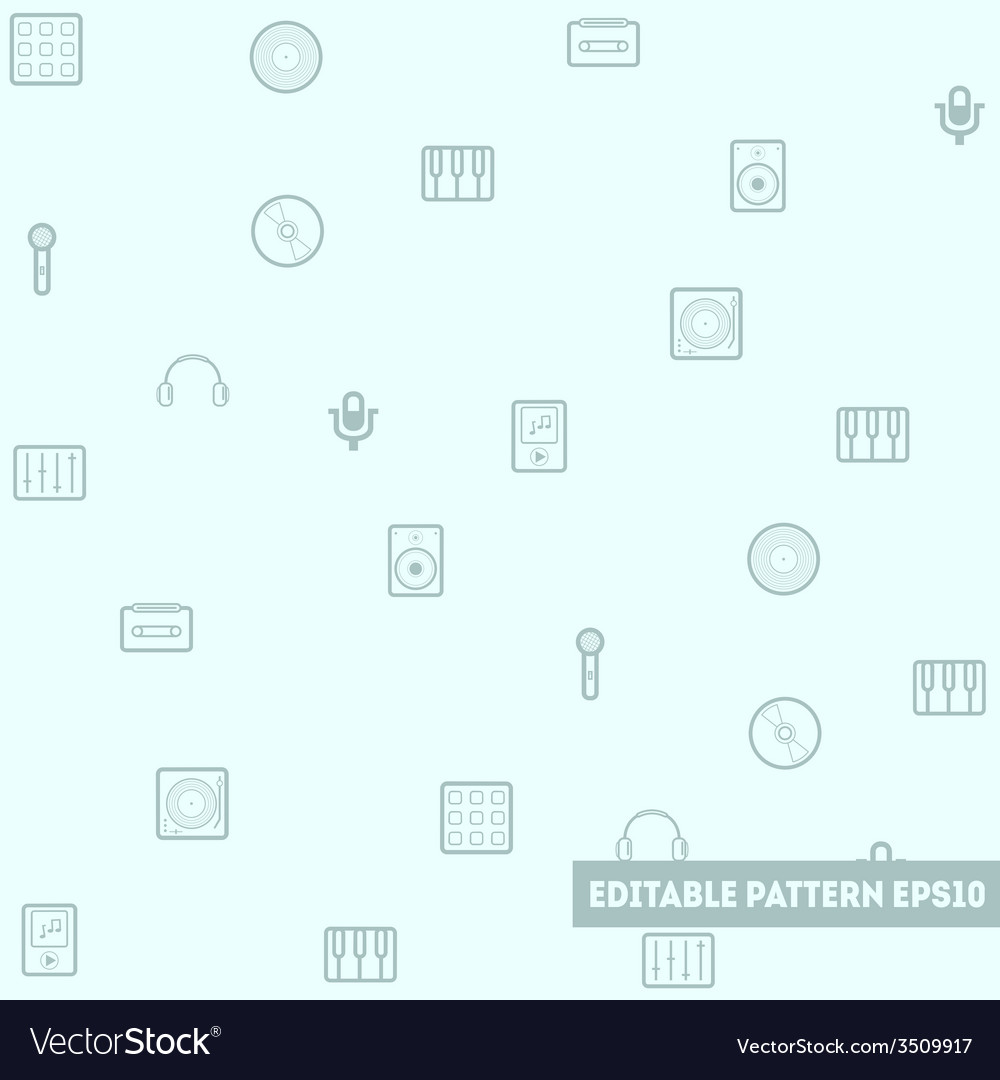 Seamless pattern with musical objects vector | Price: 1 Credit (USD $1)