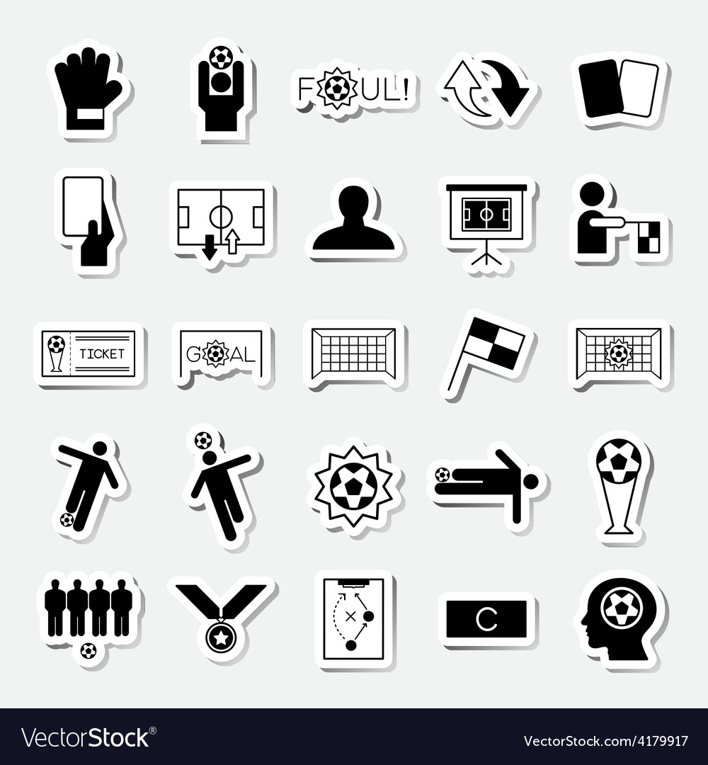 Soccer sticker icons set vector | Price: 1 Credit (USD $1)