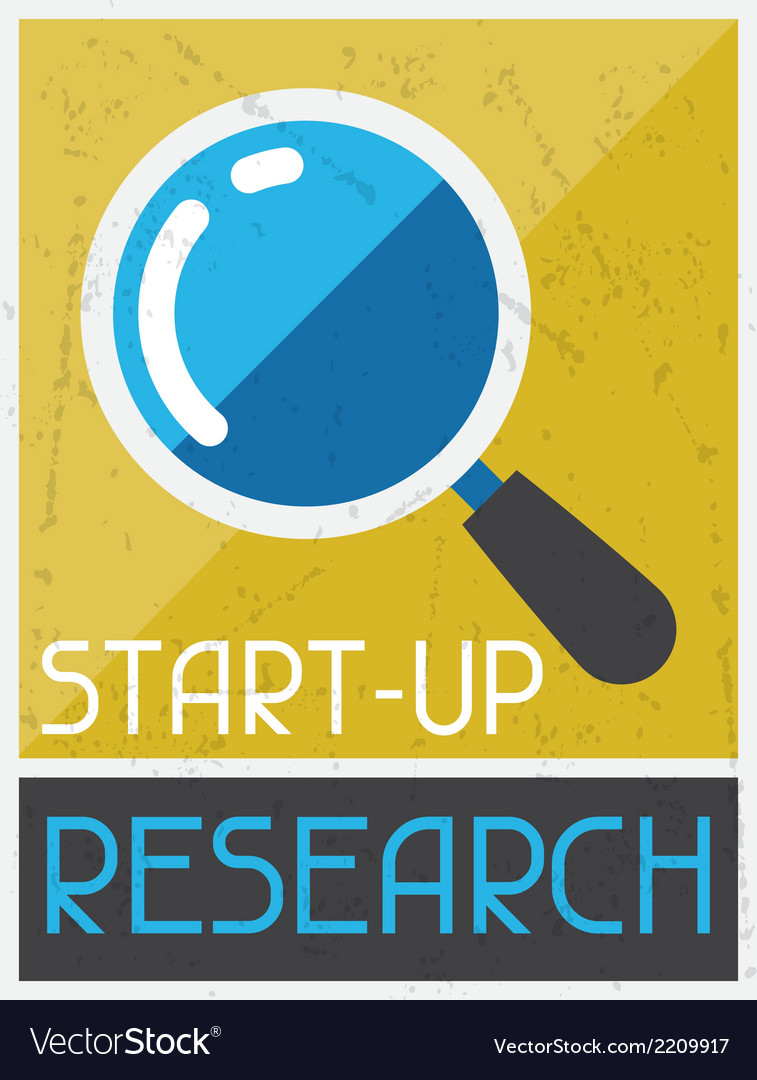 Start-up research retro poster in flat design vector | Price: 1 Credit (USD $1)