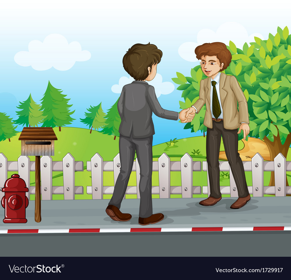 Two businessmen handshaking at the street vector | Price: 1 Credit (USD $1)
