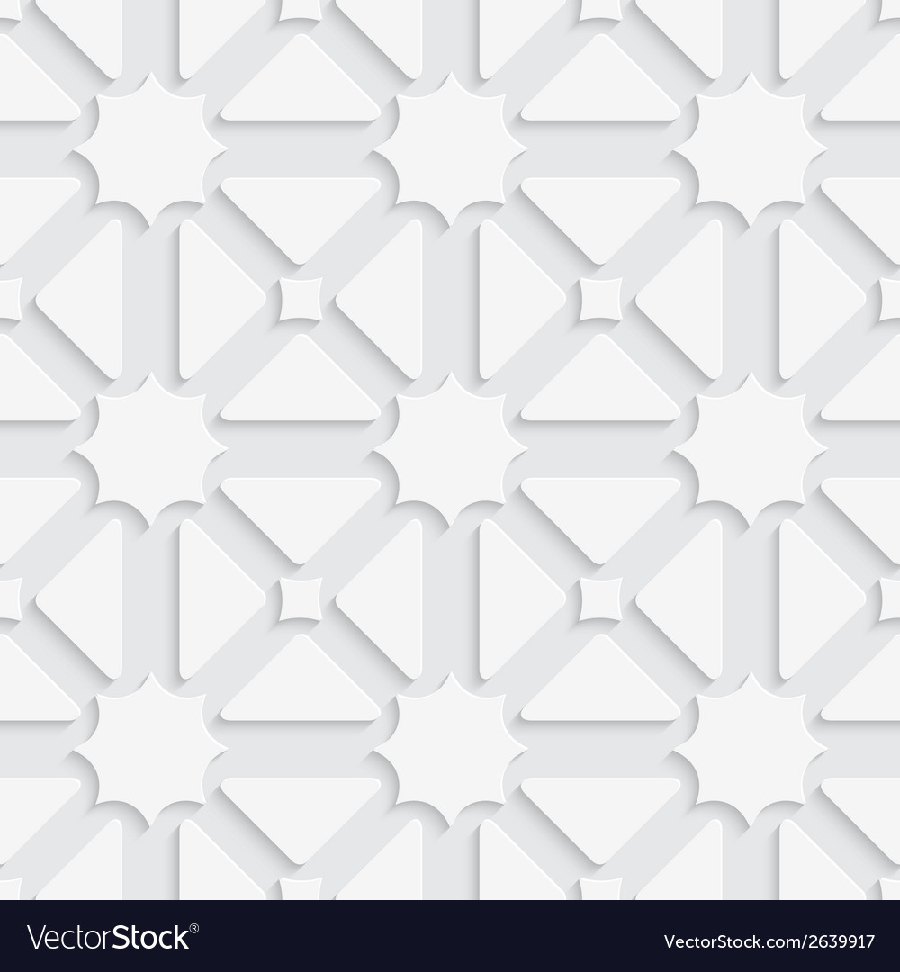 White triages and stars with shadow tile ornament vector | Price: 1 Credit (USD $1)