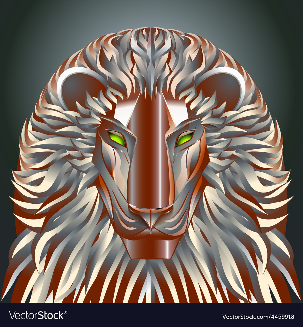 Animals lion red technology cyborg metal robot vector | Price: 1 Credit (USD $1)
