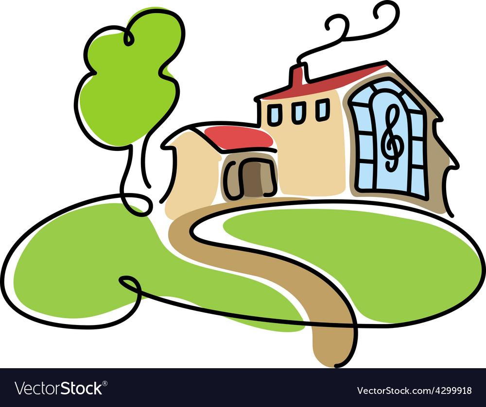 Big cartoon house icon vector | Price: 1 Credit (USD $1)