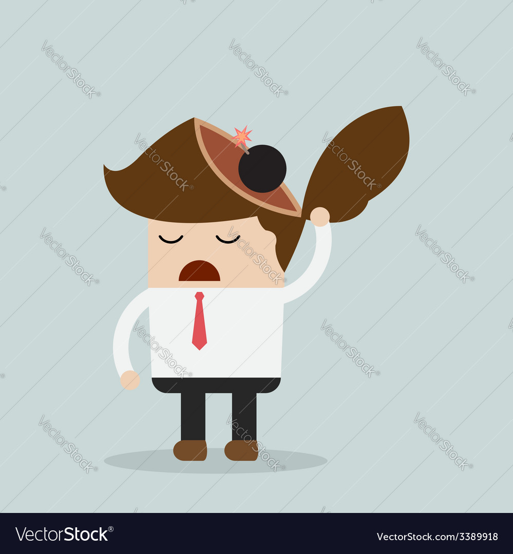 Businessman throw bomb in his head explode ideas vector | Price: 1 Credit (USD $1)