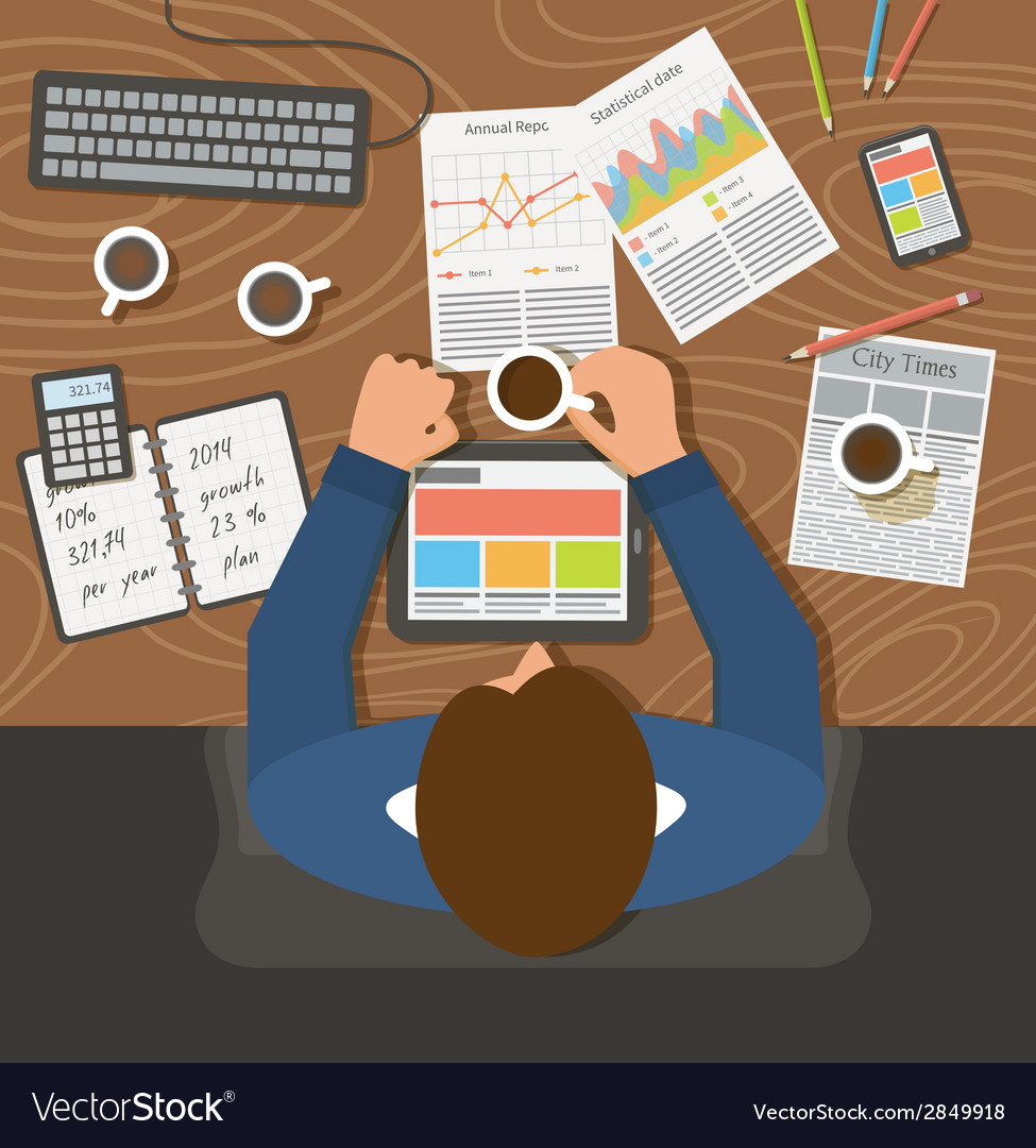 Businessman working top view office workplace vector | Price: 1 Credit (USD $1)